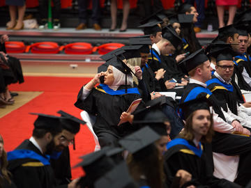 Students from the Haskayne School of Business and the Faculty of Graduate Studies celebrate graduation at the University of Calgary convocation ceremony on Friday, June 7, 2019.