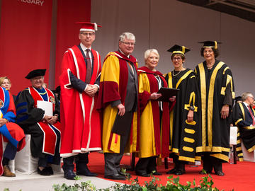Community leaders and philanthropists Doug and Diane Hunter are awarded honorary degrees.