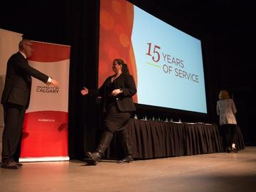 15-year service awards were presented to individuals who began their careers at the university of Calgary back in 2004.