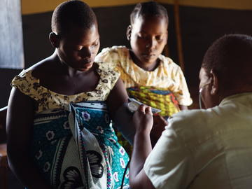 Expecting mothers get their blood pressure checked at a health dispensary in Misungwi, Tanzania.