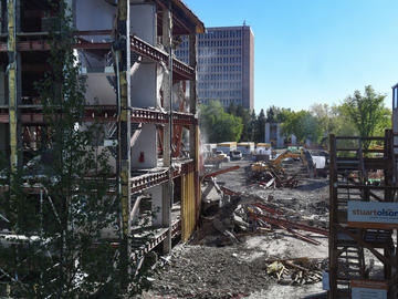 A picture of the Block being dismantled
