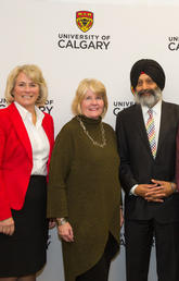 With University of Calgary President Elizabeth Cannon, left, at the W.A. Ranches donation announcement on Friday were, from left: Wynne Chisholm, Faculty of Veterinary Medicine Dean Baljit Singh, Jamie Chisholm, and Bob Chisholm