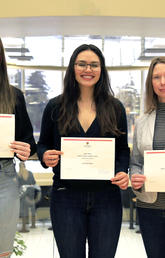 UCalgary students Abigail Skaudis, left, and Jennifer Bohn, centre, scripted, performed and produced Growth over Grades with the support of Leah Tellier, sessional instructor for the Faculty of Nursing. Photo by Jodi Egan, University of Calgary