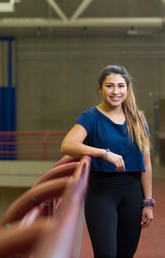 Daniela Garcia Orellana, a fourth-year kinesiology student, is helping with the Change in Hormones with Exposure to Student Stress (CHESS) study led by P.K. Doyle-Baker, professor in the Faculty of Kinesiology. Photo by Riley Brandt, University of Calgary