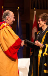 University of Calgary Chancellor Deborah Yedlin takes part in a ceremony conferring an honorary degree on His Highness the Aga Khan.