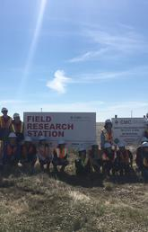 Students participating in the ReDeveLoP program from five different universities visit the Field Research Station (FRS) near Brooks, AB. The FRS is operated by the Containment and Monitoring Institute (CaMI) at the University of Calgary. The students learned about new technologies that are being developed for conformance monitoring of CO2 plumes in the subsurface.