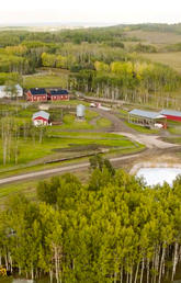 Drone shot of W.A. Ranches at the University of Calgary, a 19,000-acre cattle ranch just west of Calgary.