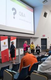 President Elizabeth Cannon, Provost and VP (Academic) Dru Marshall, and VP (Finance and Services) Linda Dalgetty take questions from the audience at the Campus Town Hall June 24, 2016. Photo by Riley Brandt, University of Calgary