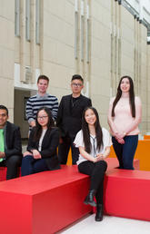 Nine University of Calgary students are part of the first cohort of the new dual degree program between the Schulich School of Engineering and the Haskayne School of Business. The program was officially launched on May 16, 2017. Photo by Riley Brandt, University of Calgary