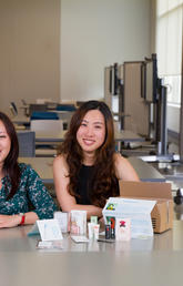 Jade Hu, left, and Pachari Detpunyawat are partners in the Summer Incubator Program at the Hunter Centre for Entrepreneurship and Innovation. As part of their studies, they're testing the JadeHuBox concept in the marketplace. Photo by Riley Brandt, University of Calgary