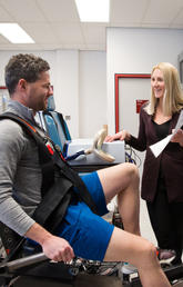 Rosemary Twomey, postdoctoral fellow in the Faculty of Kinesiology at the University of Calgary, researches tailored exercise interventions to reduce cancer-related fatigue. Photo by Riley Brandt, University of Calgary