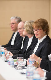Chief Justice Catherine Fraser of the Court of Appeal of Alberta welcomed guests and brought greetings on behalf of the Court. Photos by Adrian Shellard, for the Faculty of Law