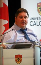 Minister Kent Hehr announces Canada Foundation for Innovation funding for University of Calgary researchers. Photo by Colleen De Neve, for the University of Calgary