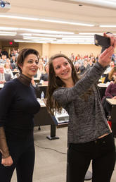 Marie Henein gave the 2017 Milvain Lecture to a full house Jan. 6 at the University of Calgary's law school. Photo by Adrian Shellard, for the Faculty of Law