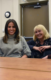Community health navigators are helping patients along the path to better self-care. From left: community health navigators Syeda Afreen and Suzanne Evanson, a third-year student in UCalgary's Faculty of Social Work, with Rachel Clare, manager of the Community Health Navigation Services program at the Mosaic Primary Care Network, and Kerry McBrien, an assistant professor at the Cumming School of Medicine who helped develop the program. Photo by Michael Wood, O'Brien Institute for Public Health