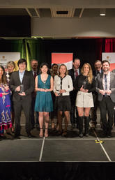 University of Calgary President Ed McCauley, far right, and Vice-Provost (International) Janaka Ruwanpura and Provost Dru Marshall, far left, with the 2019 University of Calgary Internationalization Achievement Awards winners. Photos by Adrian Shellard, for University of Calgary International