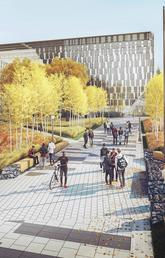 Shown is a rendering of Swann Mall's revitalized landscape featuring region-specific trees and vegetation, and new pathways leading up to the MacKimmie Tower and Block. Detours will be in effect in Swann Mall starting April 27 as landscaping gets underway.