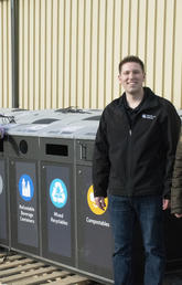 Old recycling and waste diversion bins are headed to the University of Regina to help them develop a more robust recycling program. From left: Lee Aument, University of Regina; Samuel Whyte, UCalgary; Vincent Ignatiuk, University of Regina; and Ana Pazmino, UCalgary. Photos courtesy Geremy Lague, University of Regina