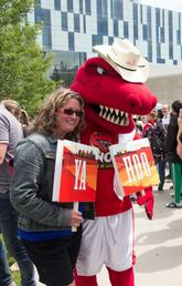 Rex kept folks in the Stampede spirit at the President's Stampede Barbecue.