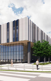 Rendering of exterior of south east of Mathison Hall