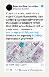 Check out a new queer history map of Calgary illustrated by Mark Clintberg. Its typography draws on the signage of Calgary's former Cecil Hotel, where lesbians met for many years. Learn more: https://arts.ucalgary.ca/cih/queermap What are the legendary #LGBTQ+ institutions in your town?