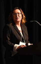Dr. Katrina Milaney speaks at A new Decade in Public Health at the Glenbow Museum on March 6, 2020.