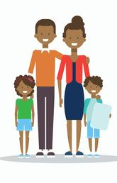 Graphic showing two adults flanked by two children