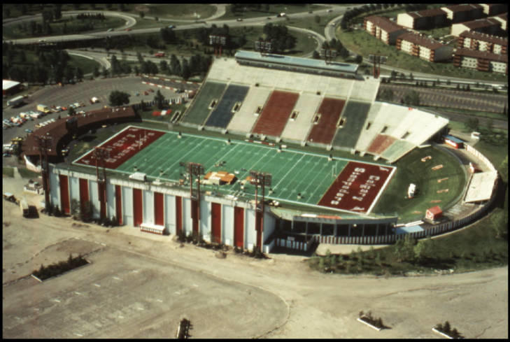 Image of an oblique aerial view of McMahon Stadium