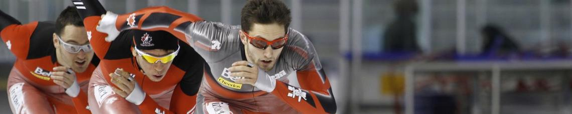 Speed skaters on Team Canada practice at the University of Calgary's Olympic Oval