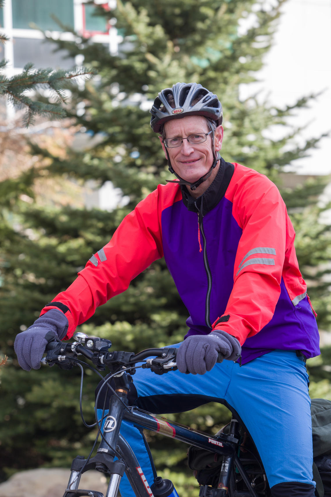 Steven Bryant, the first Canada Excellence Research Chair (CERC) at the University of Calgary, rides his bike to work.