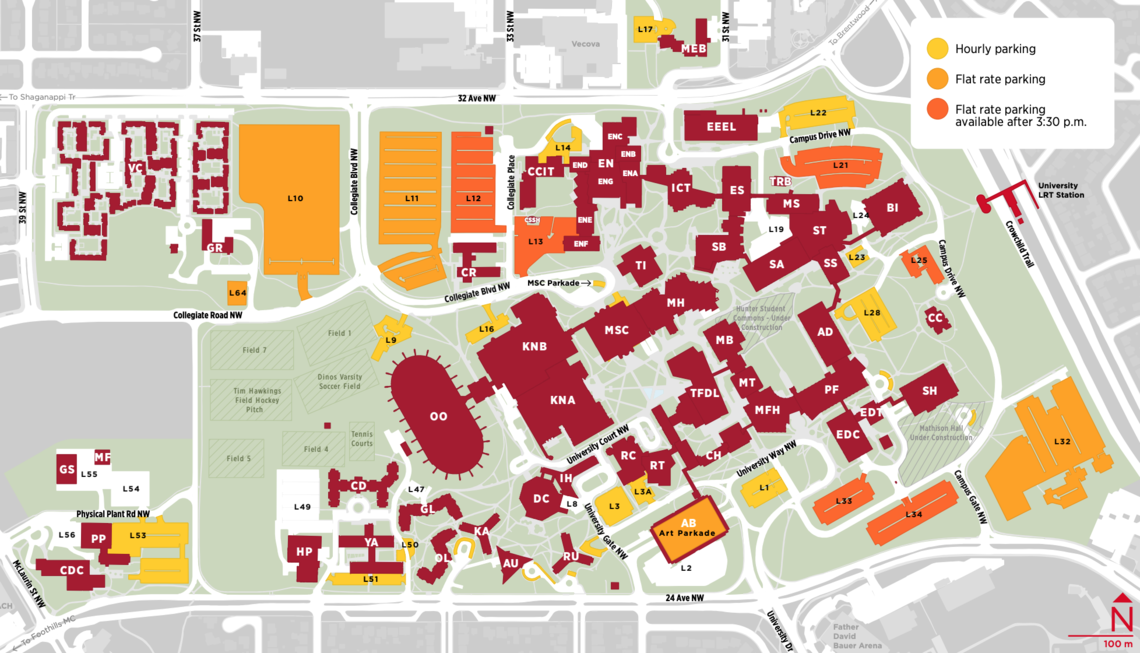 A portion of the map of main campus, showing roads, buildings, parking lots, and the c-train station